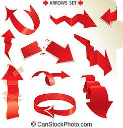 papier, différent, ensemble, flèches, rouges