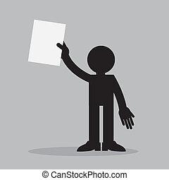 papier, do góry, figura, dzierżawa