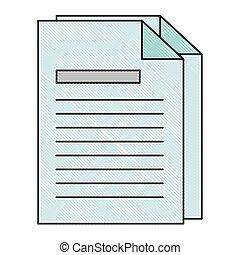papier, documents, icône, isolé