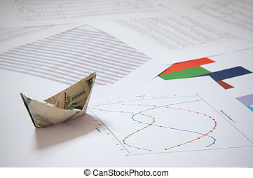 papier, dollar, bateau