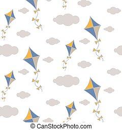papier drache, in, himmelsgewölbe, seamless, vektor, pattern.