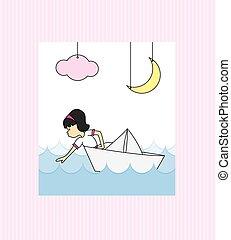 papier, dziewczyna, łódka
