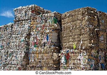 papier, empilé, cubes