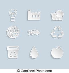 papier, ensemble, écologie, icônes