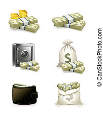 papier, ensemble, argent