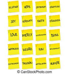 papier, ensemble, feuilles, négatif, émotions