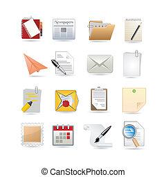 papier, ensemble, icône