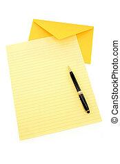 papier, enveloppe, jaune, lettre