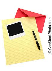 papier, enveloppe, lettre, jaune, rouges