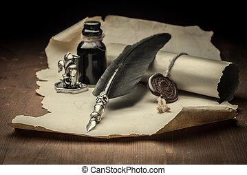 papier, et, stylo