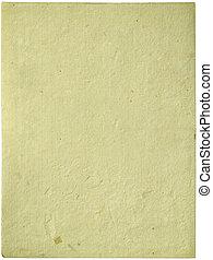 papier fait main, feuille, isolé, crème