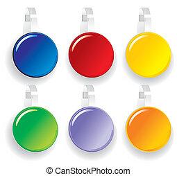 papier, farbe, werbung, wobbler