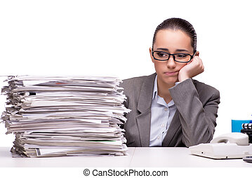 papier, femme fâchée, blanc, tas