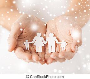 papier, femme homme, famille, mains