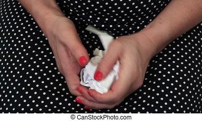 papier, femme, urgent, feuille, stressant