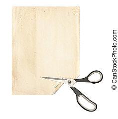 papier, feuille, coupure, vieux, ciseaux