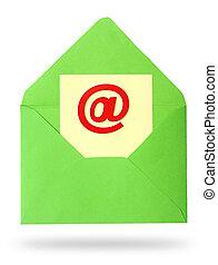 papier, -, feuille, enveloppe, email, concept