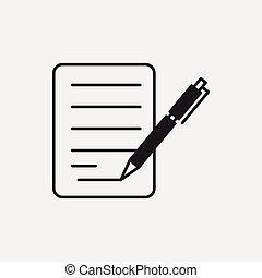 papier, financieel, pictogram