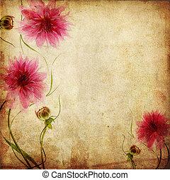 papier, fleurs, vieux, fond, rose
