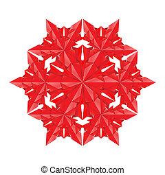 papier, flocon de neige, rouges
