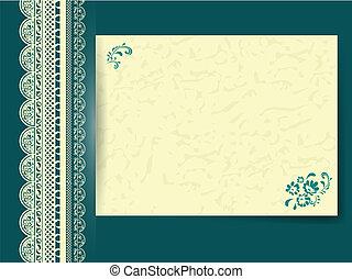 papier, floral, kant, verfraaide, frame