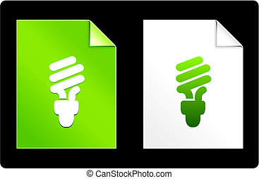 papier, fluorescentie, lightbulb, set