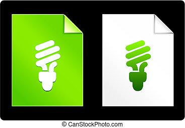 papier, fluorescentie, lightbulb, set