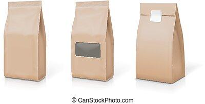 papier, folie, voor, voedsel stalletje, op, snack, reukzakje, zak, verpakking, set