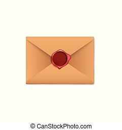 papier, fond, isolé, enveloppe blanche, brun, cire, sombre, lettre, cachet, rouges