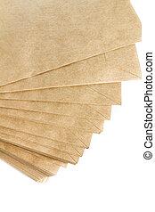 papier, fond, pile, recyclé, enveloppes, isolé, blanc