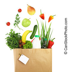 papier, frais, sac, épicerie, sain
