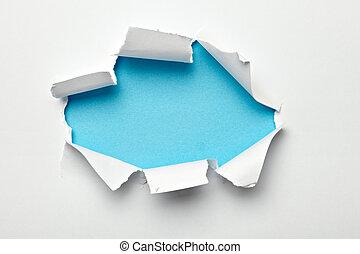 papier, gat, afgescheurde, vernietigde, beschadigd, het...