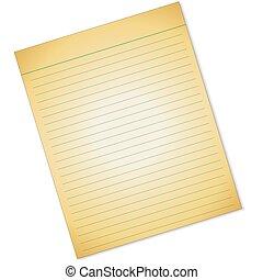 papier, gaten, gele, lined