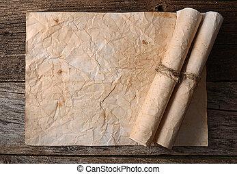 papier, gebrande, randen, oud