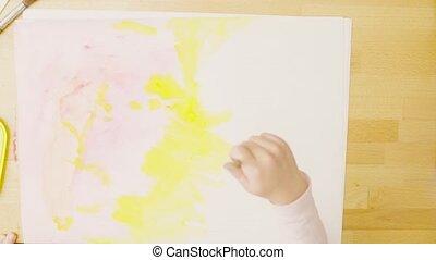 papier, gemälde, junger, aquarelle, künstler