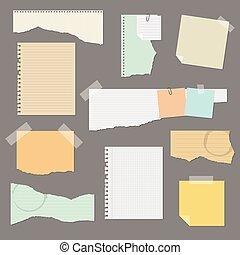 papier, gescheurd, vector, set, illustratie, vrijstaand