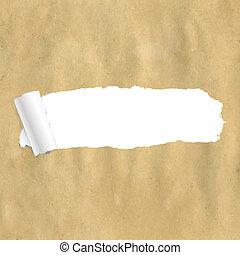 papier, gescheurd, verpakken
