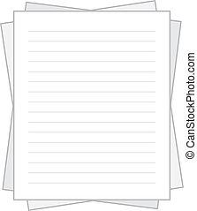 papier, gestapelt, liniert