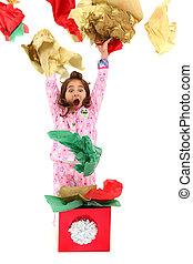 papier, girl, emballage, lancement, excité