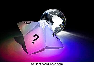 papier, globe, caissier, fortune