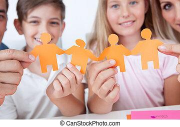 papier, hand holding, familie, leute