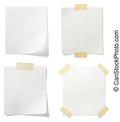 papier, handlowy, biały, wiadomość, etykieta, nuta