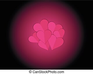 papier, hearts., coeur, decorative., valentines, day., vector.