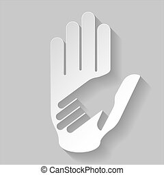 papier, helfende hand