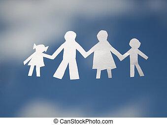 papier, hemel, gezin