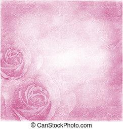 papier, hintergrund, mit, rosen
