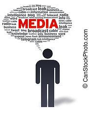 papier, homme, média, bulle