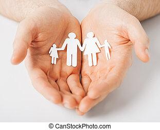 papier, hommes, famille, homme