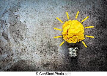 papier, idée, concept, ampoule, lumière, jaune, grand, chiffonné