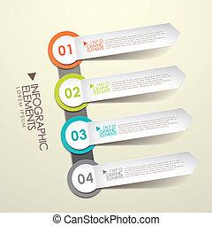papier, infographic, 3d, éléments, étiquette